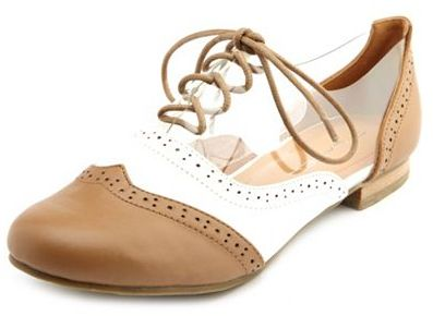 Charlotte Russe Clear Wingtip Lace-Up Oxford