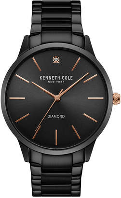 Kenneth Cole New York Men's Diamond Accent Black Ion-Plated Stainless Steel Bracelet Watch 43mmx50mm 10031279