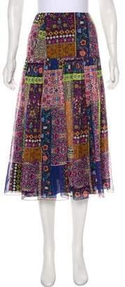 Matthew Williamson Printed Silk Midi Skirt