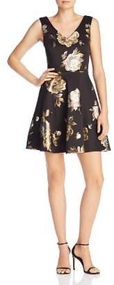 Aqua Floral Brocade V-Neck Dress - 100% Exclusive