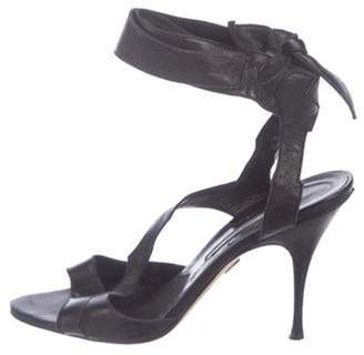 Brian Atwood Leather Ankle Strap Sandals Black Leather Ankle Strap Sandals