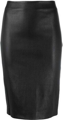 Theory faux leather pencil skirt