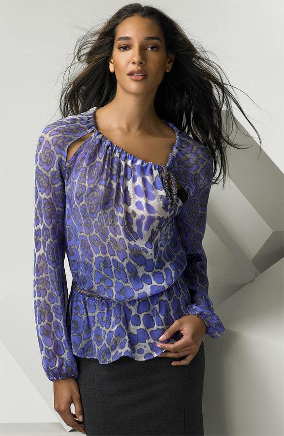 Blumarine Animal Print Silk Chiffon Tunic