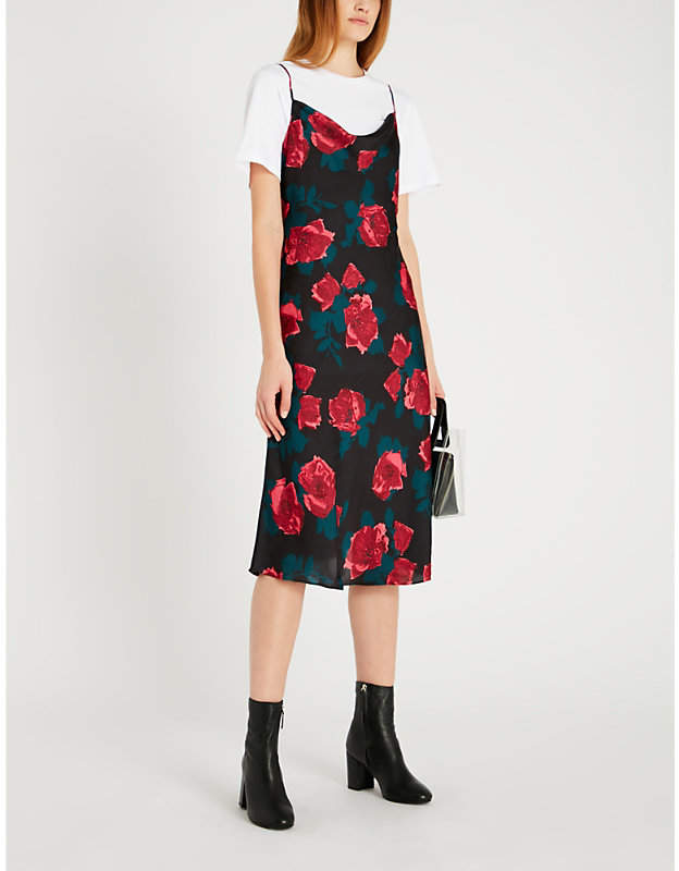 Giovanna rose-print satin dress