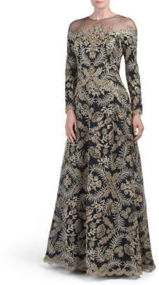 Long Sleeve Sheer Illusion Gown