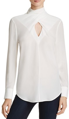 Chelsea And Walker Twist Neck Silk Top $248 thestylecure.com