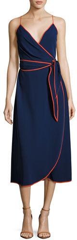 Tory Burch Grotto Contrast-Trim Wrap Slip Dress, Navy