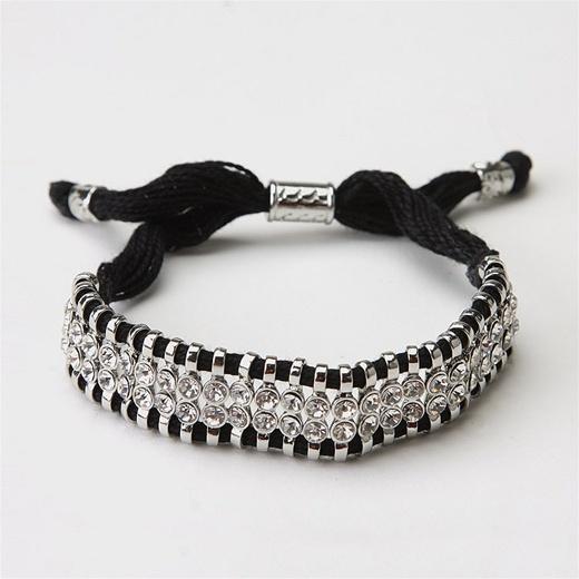 Wide Threaded Bracelet With Rhinestones