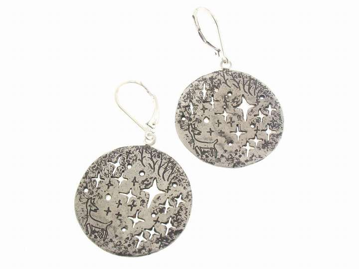 Yayoi Forest: Deer in the Forest Earrings in Silver