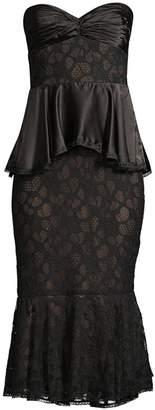 Flor Et. Al Clash Lace Ruched Ruffle Flounce Sheath Dress