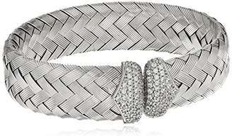 Sterling Rhodium Plated Woven Cuff Bangle Bracelet With CZ End Caps