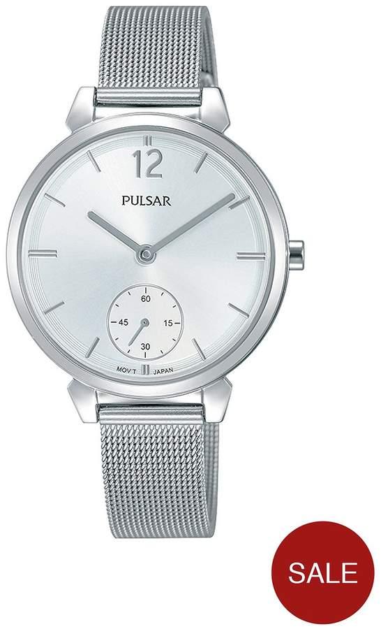Stainless Steel Mesh Bracelet Silver Dial Ladies Watch
