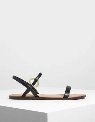 Charles & Keith Gold Buckle Detail Sandals