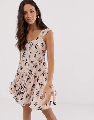 Asos Design DESIGN button through mini tiered sundress in floral print