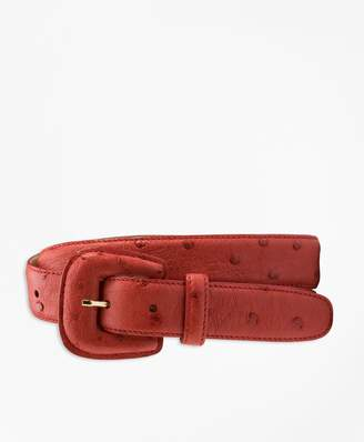 Brooks Brothers Covered-Buckle Ostrich Belt