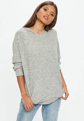 Missguided Gray Brushed Hoodie