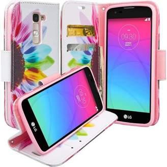 LG Electronics Coverlab K8 | Phoenix 2 | Escape 3 Wallet Case, Wrist Strap [Kickstand] Pu Leather Wallet Case with ID & Credit Card Slots for K8 | Phoenix 2 | Escape 3 - Sun Flower