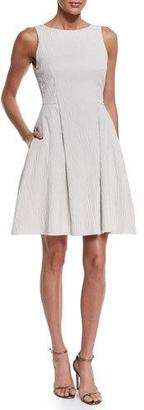 Armani Collezioni Sleeveless Textured A-Line Dress, Ivory $1,095 thestylecure.com