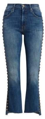 Mother Insider Studded Step-Hem Cropped Jeans