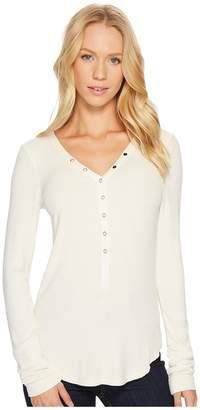 Three Dots Viscose Rib Henley Women's Clothing