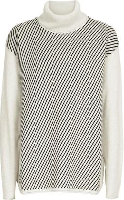 Reiss Bridget - Striped Rollneck Jumper in Grey