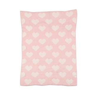 Living Textiles CHENILLE BLANKET, PINK HEARTS
