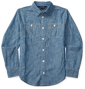 Ralph Lauren Childrenswear Girls 7-16 Yarn-Dyed Chambray Shirt $49.50 thestylecure.com