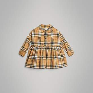 Burberry Gathered Sleeve Vintage Check Cotton Dress , Size: 8Y, Yellow