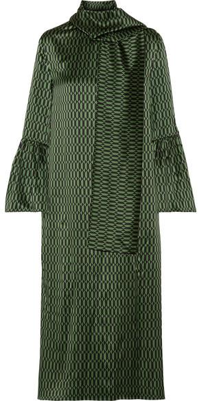 Fendi - Chiffon-trimmed Printed Silk-satin Midi Dress - Green