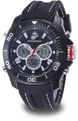 WRIST ARMOR Wrist Armor Men's U.S. Marine Corps C29 Multifunction Watch, Black and White Dial, Black Rubber Strap