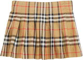 Burberry Pearl Pleated Vintage Check Skirt