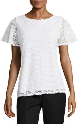 Liz Claiborne Short Sleeve Lace Knit Blouse