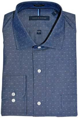 Tommy Hilfiger Mens Button Down Dress Shirt, Long Sleeve, Blue