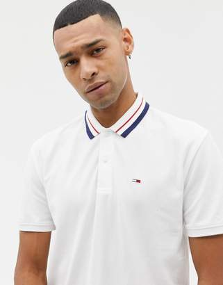 Tommy Jeans Classic icon tipped pique polo relaxed regular fit in white
