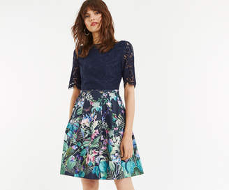 Oasis LACE TOP BLOOM SKATER DRESS