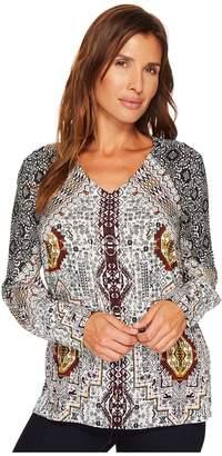 Tribal Long Sleeve V-Neck Printed Blouse Women's Blouse