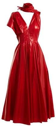 Calvin Klein Tie Neck A Line Dress - Womens - Red