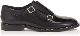 Jimmy Choo TATE Black Patent Leather Shoe with Baguette Crystal Welt Detailing