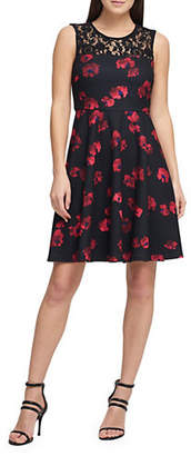 DKNY Floral Lace Fit-And-Flare Dress