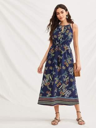 Shein Floral Print Keyhole Neckline Dress
