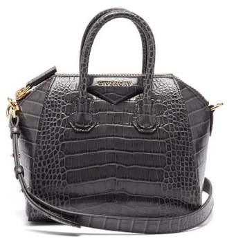 Givenchy Antigona Mini Crocodile Effect Leather Bag - Womens - Dark Grey