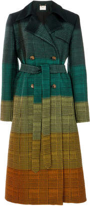 Mary Katrantzou Ombre Prince Of Wales Wool-Blend Coat