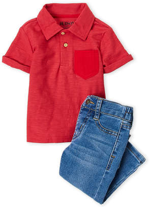 Hudson Infant Boys) Two-Piece Slub Knit Polo & Straight Jeans Set