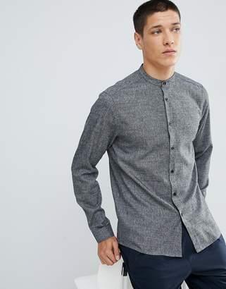 Asos Design DESIGN slim twill shirt with grandad collar in grey