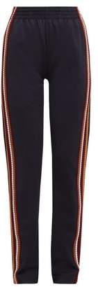 Wales Bonner Crochet Striped Technical Track Pants - Womens - Black