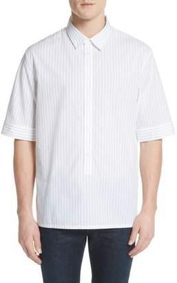 Helmut Lang Elongated Placket Stripe Woven Shirt