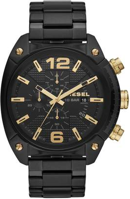Diesel Overflow Three-Hand Black Stainless Steel Watch