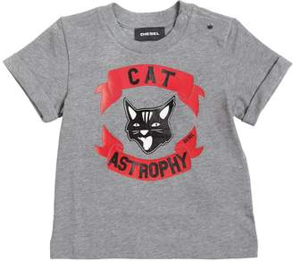 Diesel Cat Printed Cotton Jersey T-Shirt