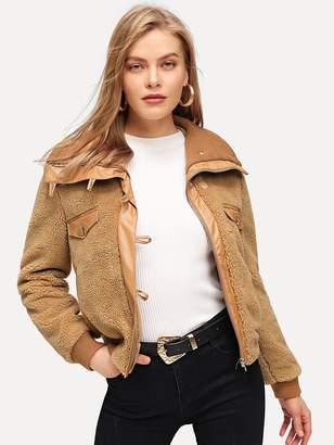 Shein Faux Leather Trim Teddy Jacket