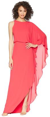 Halston Flowy One Sleeve Round Neck Gown w/ Back Cowl Women's Dress